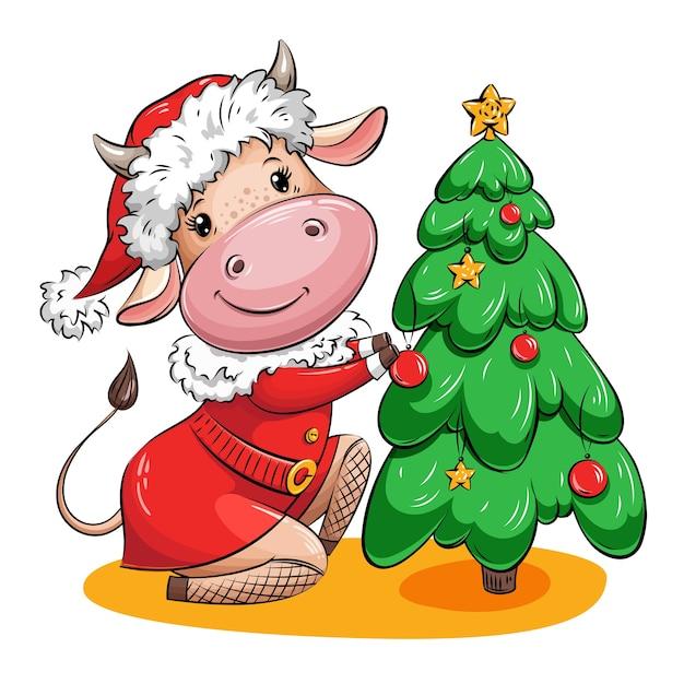 A vaca bonito dos desenhos animados no terno de papai noel está decorando a árvore de natal com bolas de natal e estrelas douradas. personagem de natal.