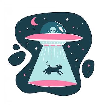 A vaca é sequestrada por um ovni. desenho engraçado, infantil, engraçado. desenho à mão. impressão alienígena isolada. ilustração plana