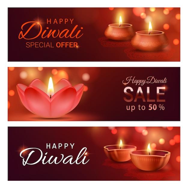 A venda do festival de luz diwali oferece banners com lâmpadas diya do deepavali indiano.