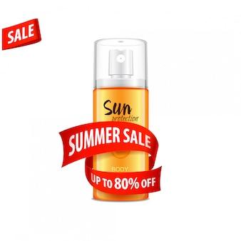 A venda, molde do cosmético ajustou-se com fita vermelha e curva, ilustração. para web, revista ou adv