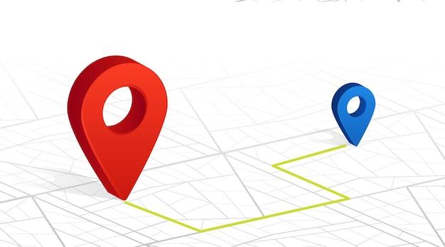 A verificação do pino do navegador gps aponta a cor vermelha no fundo branco das ruas da cidade. ilustração vetorial