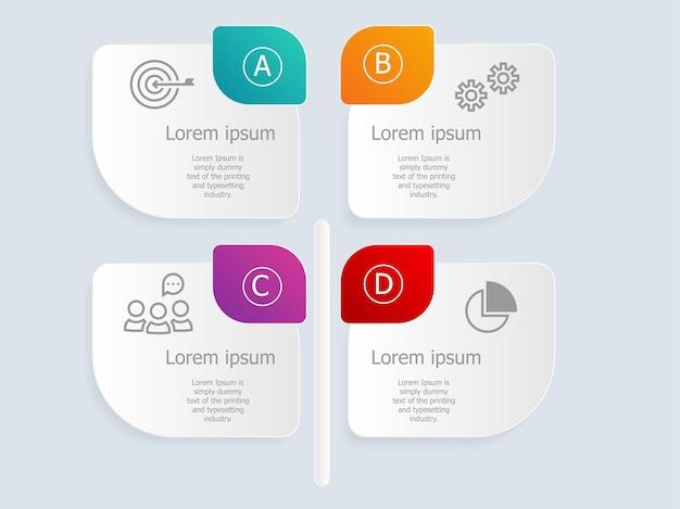 A vertical abstrata deixa infográficos com ícones de negócios