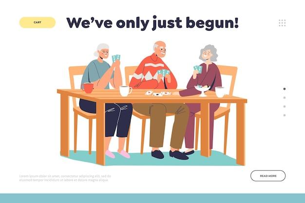 A vida começa após a aposentadoria, conceito de página de destino