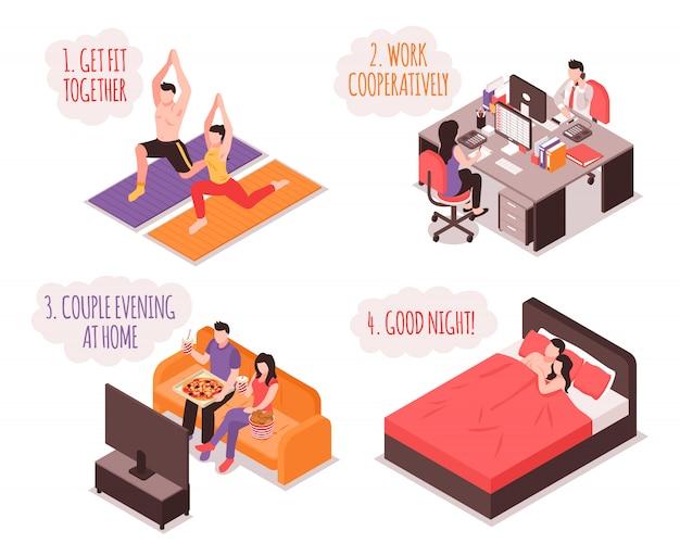 A vida cotidiana do conjunto de ilustração isométrica do casal fitness e trabalhar juntos em casa à noite e dormir