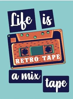A vida é uma mixtape, lettering com fita retro