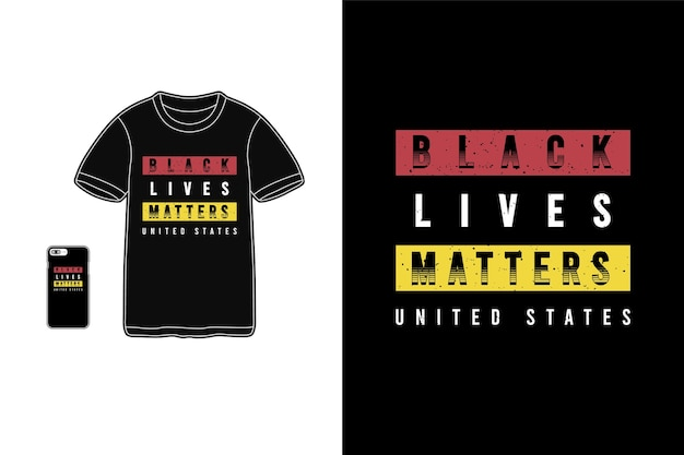 A vida negra importa letras para a camisa