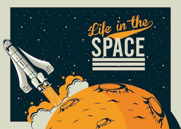A vida no espaço letras com a inicialização da nave espacial no pôster ilustração estilo vintage