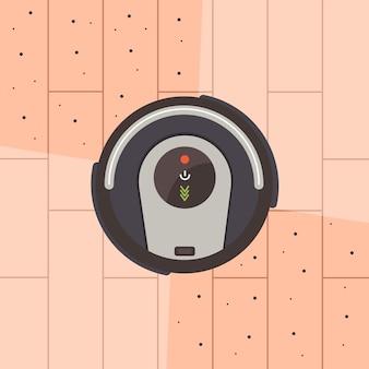 A vista superior do aspirador robô limpa