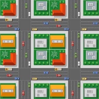 A vista superior do tráfego, transporte, transporte é um mapa das ruas do quarteirão com infraestrutura da cidade, estradas, árvores, parques e jardins.