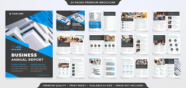 A4 modelo de design de folheto de negócios bifold com estilo limpo e minimalista para uso no relatório anual de negócios
