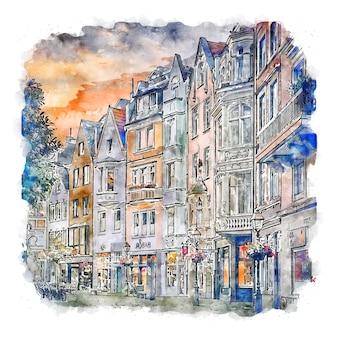 Aachen alemanha ilustração de desenho em aquarela de mão desenhada