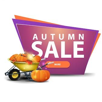 Aautumn venda, banner de desconto com um botão, carrinho de jardim com uma colheita de abóboras e folhas de outono