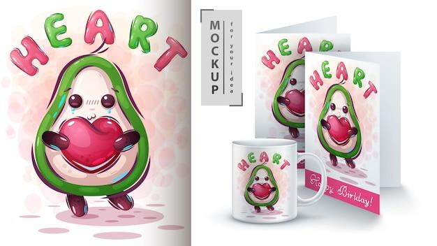 Abacate com ilustração de coração e merchandising