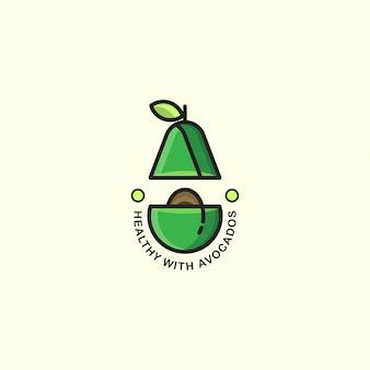 Abacate de logotipo de ícone com linha em negrito