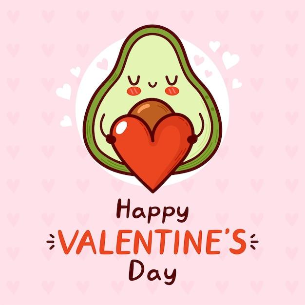 Abacate engraçado fofo com coração