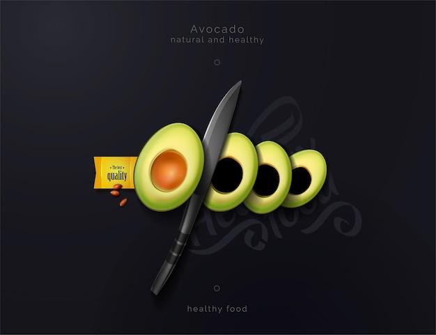 Abacate fatiado em um fundo preto composição culinária de abacate e faca comida saborosa e saudável ilustração em vetor de uma vista de cima