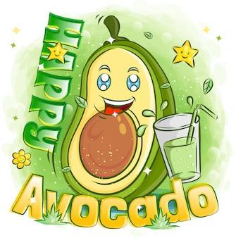 Abacate fofo com um copo de suco e se sentindo feliz