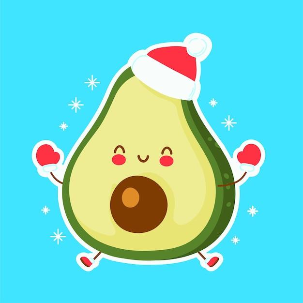 Abacate fofo feliz e engraçado natal