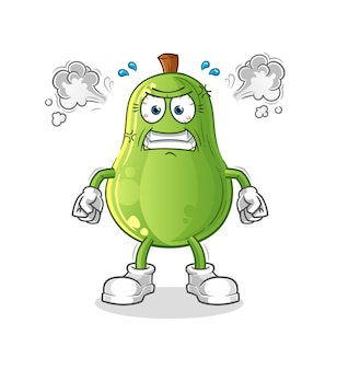 Abacate mascote muito irritado. vetor de desenho animado
