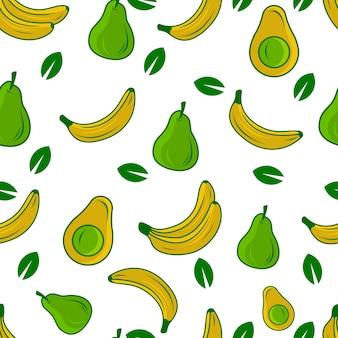 Abacate, peras e banana frutas sem costura padrão vector