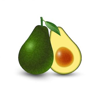 Abacate recém-cortado com folha