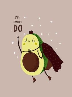 Abacate super-herói bonito. cartão de motivação