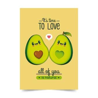 Abacates amor ilustração