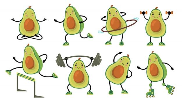 Abacates engraçados fazendo exercício