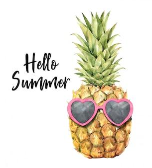 Abacaxi com aquarela de óculos de sol
