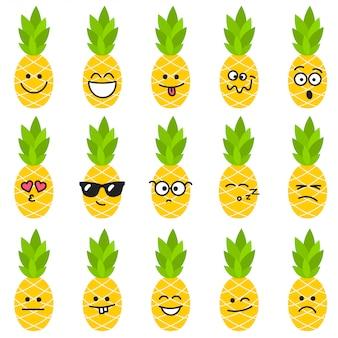 Abacaxi com emoções diferentes