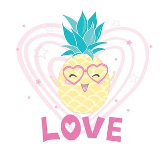 Abacaxi com óculos escuros, isolado no fundo branco. suco de abacaxi, frutas tropicais, férias de verão, férias, conceito, praia, viagens. ilustração