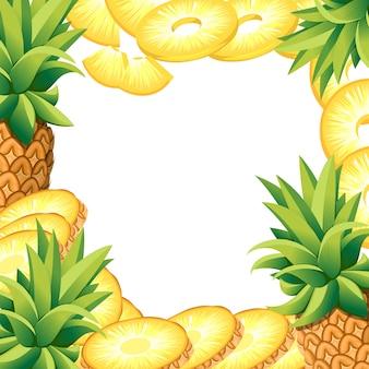 Abacaxi de banana e rodelas de abacaxi. ilustração com espaço vazio para cartaz decorativo, produto natural emblema, mercado dos fazendeiros. página do site e aplicativo para celular