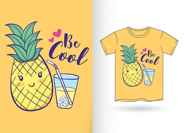 Abacaxi desenhado mão para camiseta
