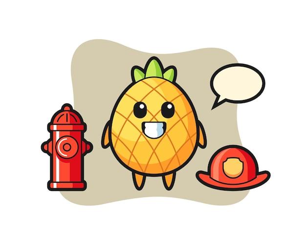 Abacaxi, design de estilo fofo para camiseta, adesivo, elemento de logotipo