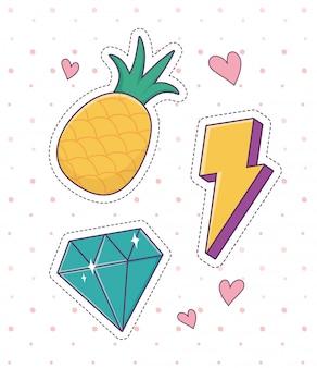 Abacaxi diamante raio remendo moda distintivo adesivo decoração ícone