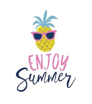 Abacaxi do estilo dos desenhos animados do verão na etiqueta dos óculos de sol.