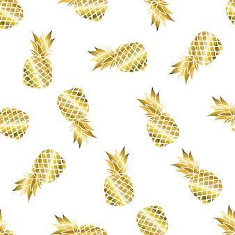 Abacaxi dourado de verão sem costura