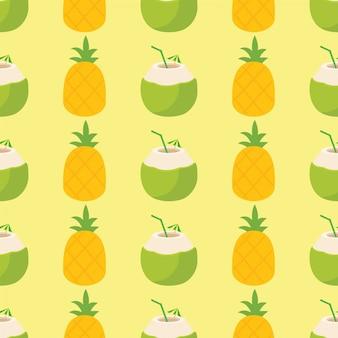 Abacaxi e cocktail padrão brilhante e colorido