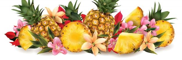 Abacaxi e flores tropicais