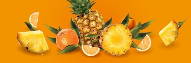 Abacaxi e laranjas em um fundo laranja