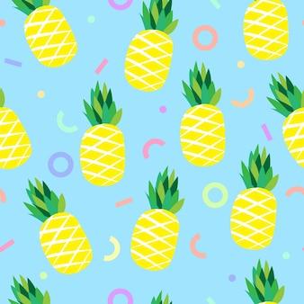 Abacaxi e linha geométrica colorida sem costura de fundo
