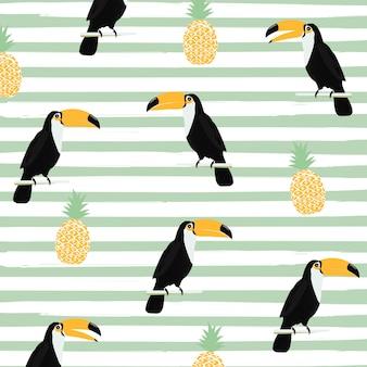 Abacaxi e toucan com listras