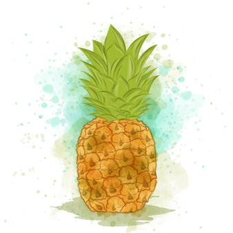 Abacaxi em aquarela apetitoso