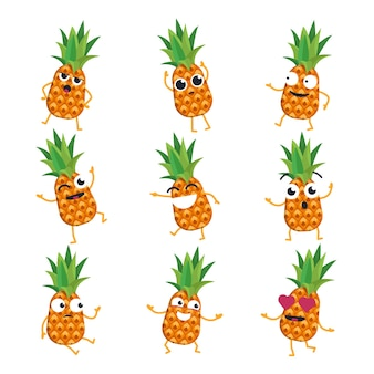 Abacaxi - emoticons de desenhos animados isolados de vetor. emoji engraçado com um personagem legal. zangado, surpreso, feliz, confuso, apaixonado, louco, fruto risonho isolado no fundo branco