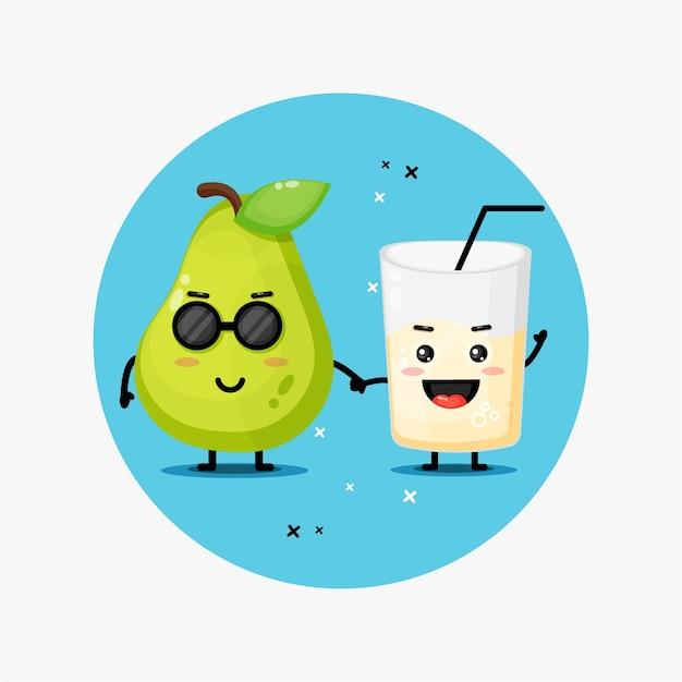 Abacaxi fofo e mascote de suco de abacaxi de mãos dadas