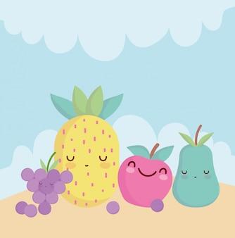 Abacaxi maçã pêra e uvas menu personagem comida dos desenhos animados