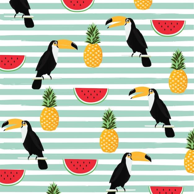Abacaxi, melancia e toucan com listras