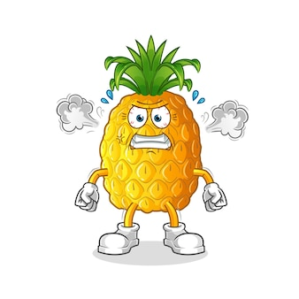 Abacaxi muito irritado mascote
