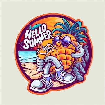 Abacaxi na ilustração de personagem de férias de verão