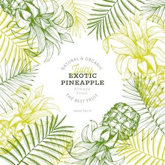 Abacaxis e design de folhas tropicais
